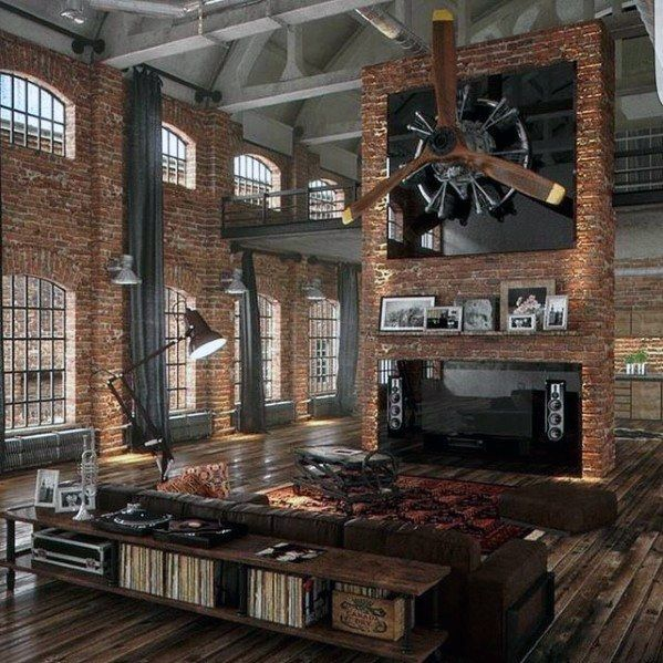 Amazing loft guys ultimate bachelor pad with brick walls living space pinterest living - A loft apartment bachelor pad ...