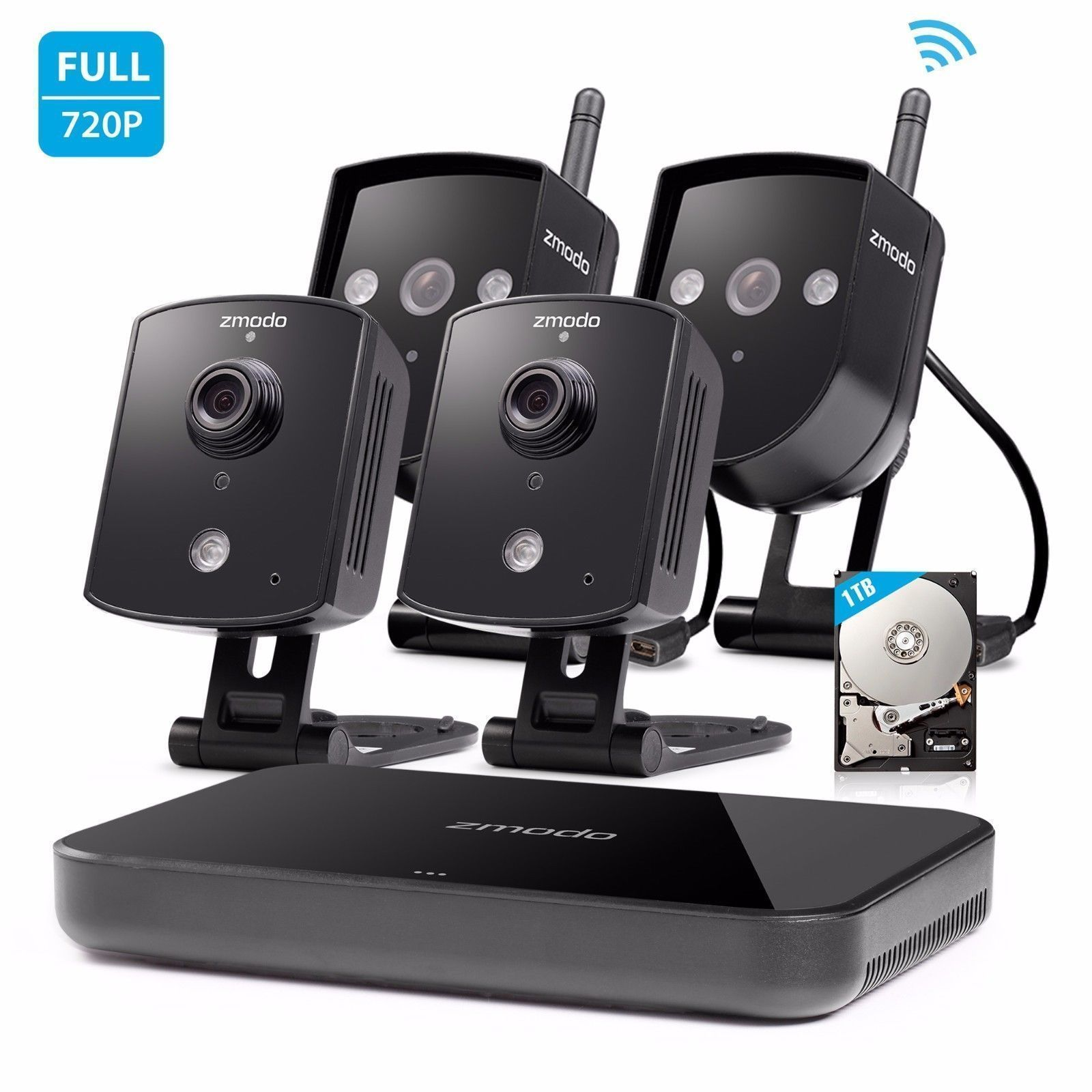 Zmodo 1080p HDMI NVR 4 720p Wireless IP Home Security Camera