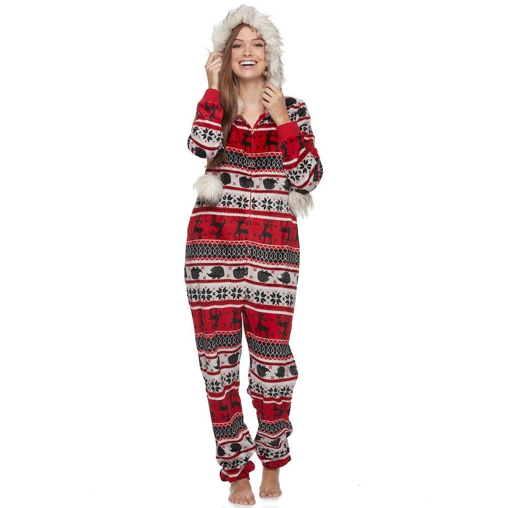 Juniors\' Peace, Love & Fashion Holiday One-Piece Pajamas, Size ...