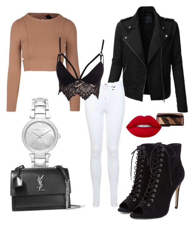 """""""Girls' night out"""" by boturovic-kristina on Polyvore featuring LE3NO, Miss Selfridge, Club L, Michael Kors, Yves Saint Laurent, Hourglass Cosmetics and Lime Crime"""