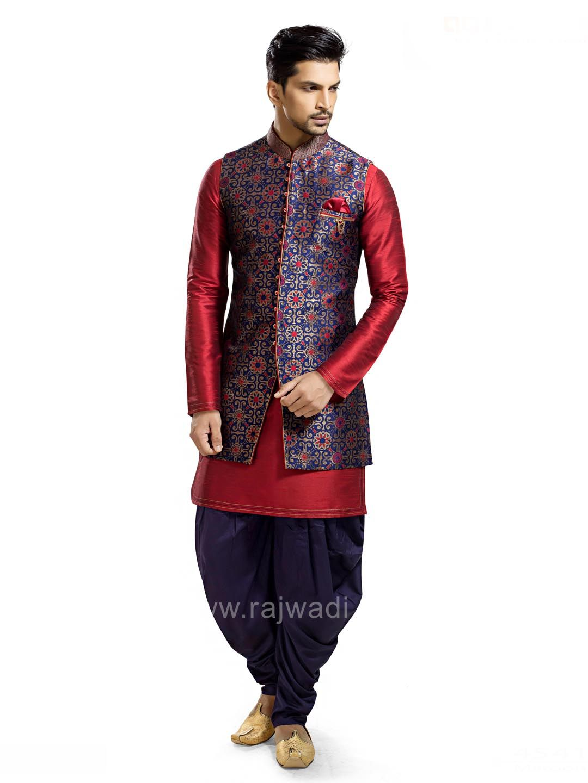 Blue and maroon color indo western rajwadi patialasuit classic