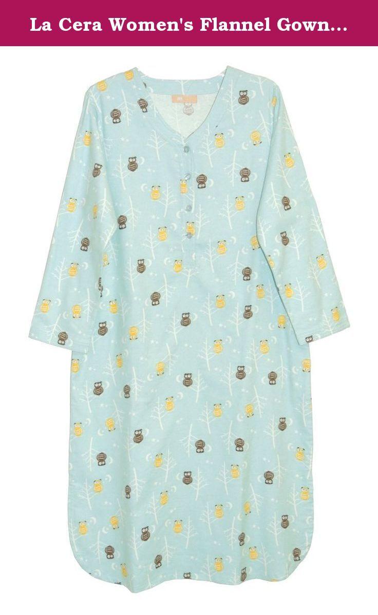 La Cera Women\'s Flannel Gown Plus Size 3X Blue Owl. La Cera created ...