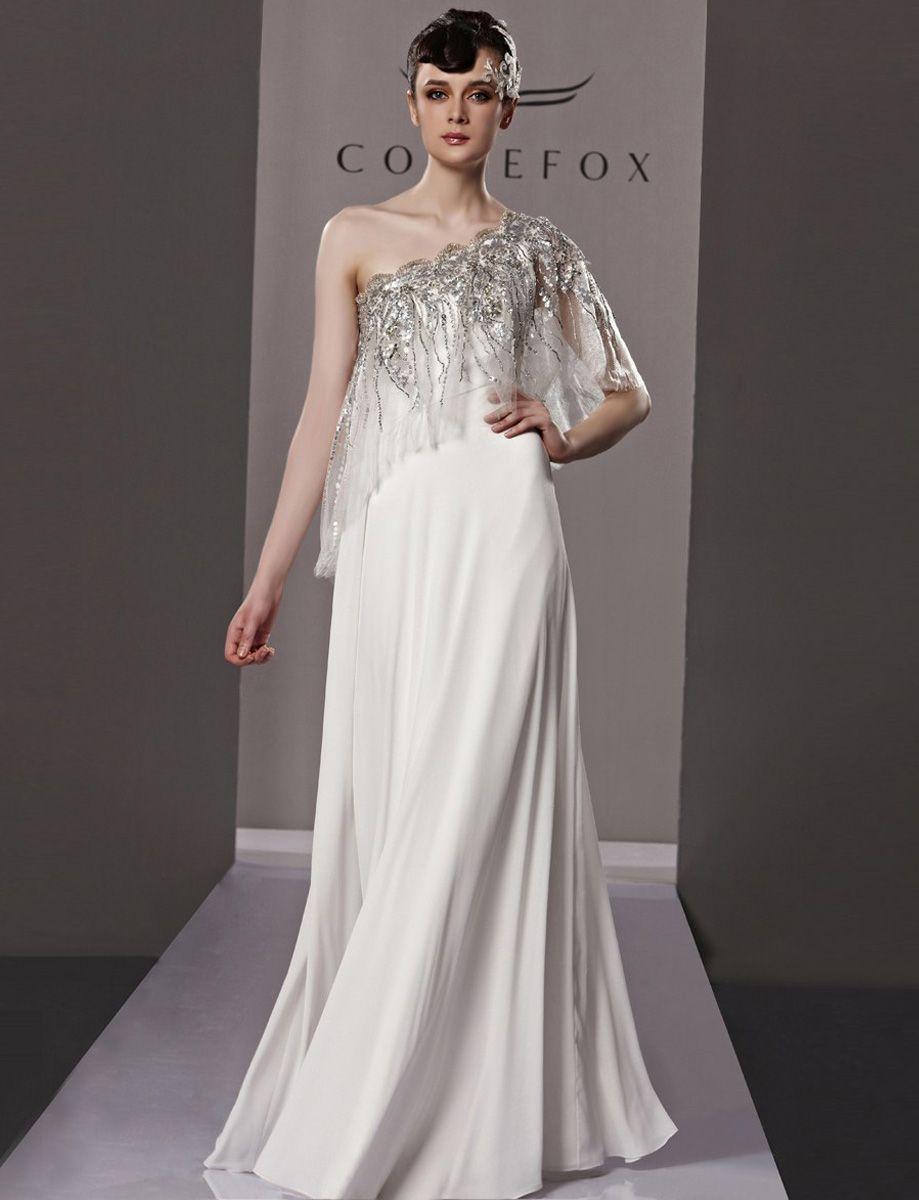 Graceful slanted shoulder evening dress with sequin trim code