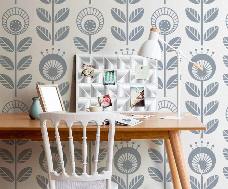 Removable Wallpaper Scandinavian Wallpaper Plants Wallpaper Etsy Removable Wallpaper Scandinavian Wallpaper Wall Wallpaper
