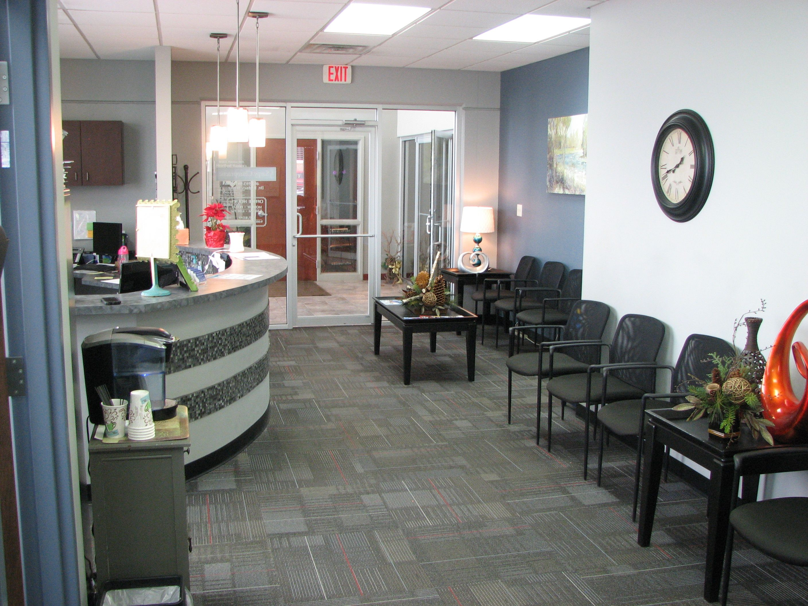 Inside sarpy chiropractic the reception area