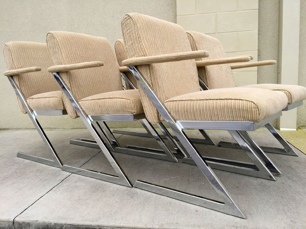 6 Mid Century Chrome Milo Baughman Quotzquot Arm Dining Chairs