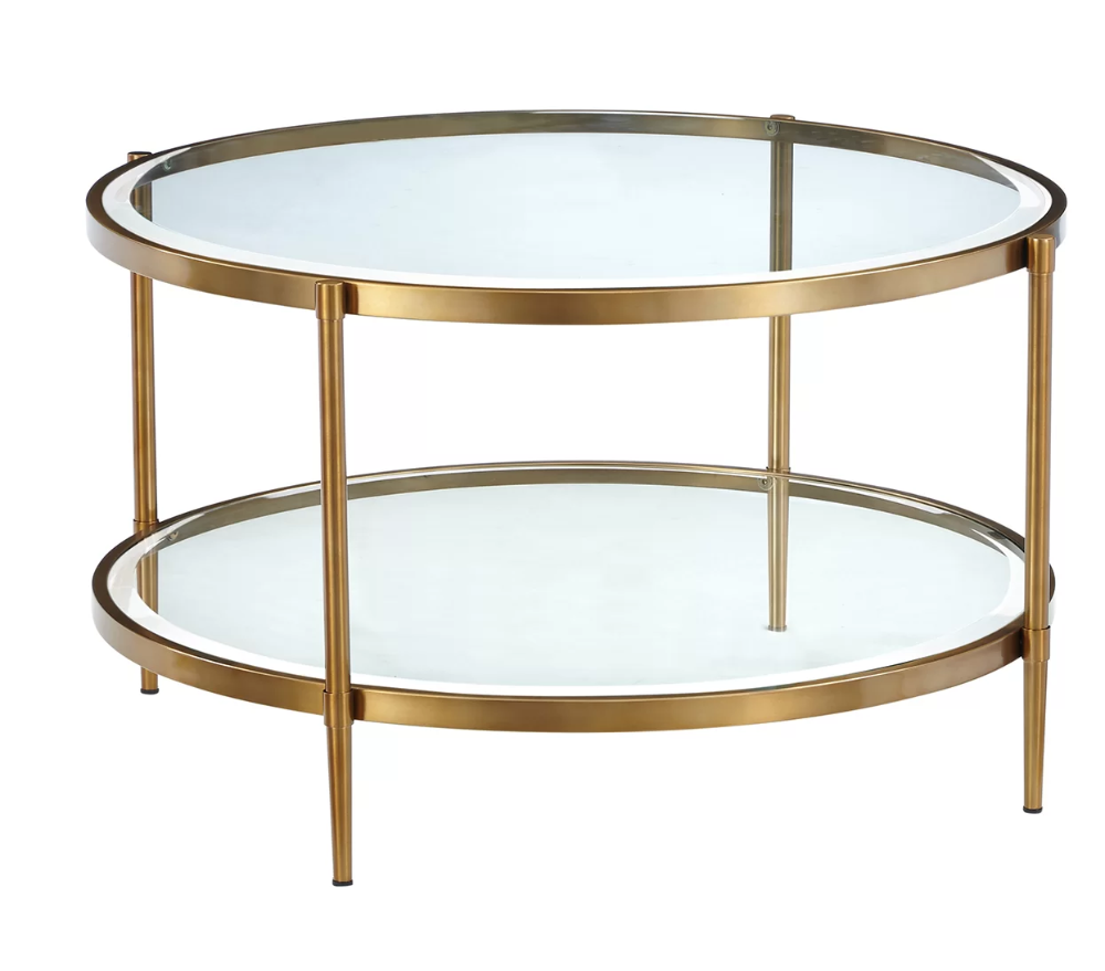Pouliot Coffee Table With Storage Round Gold Coffee Table Round Glass Coffee Table Tempered Glass Table Top [ png ]