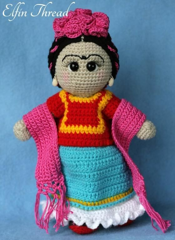 Friducha in Tehuana Dress Doll | Amigurumi häkeln, Amigurumi und Wolle