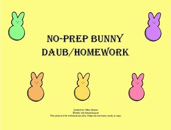 """This homework pack includes the following sounds:/r, l, s, f, g & k,  & /Also included is a language sheet & 2 blank sheets (1 for articulation and 1 for language). Can be used during therapy as a """"daub"""" activity, and/or taken home for homework."""