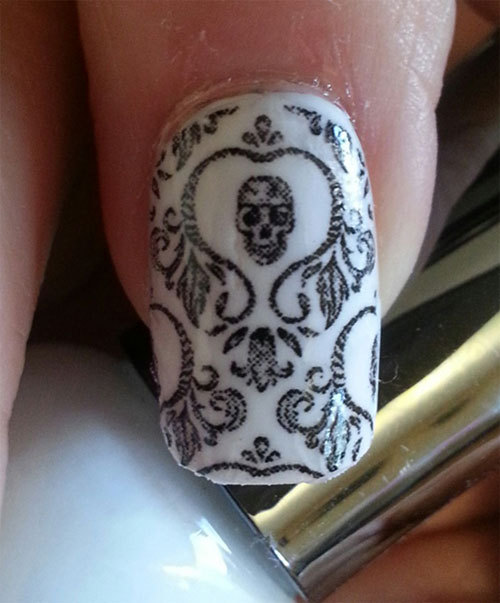 Skull Nail Art Damask Nails Skd Day Of The Dead Full Long And