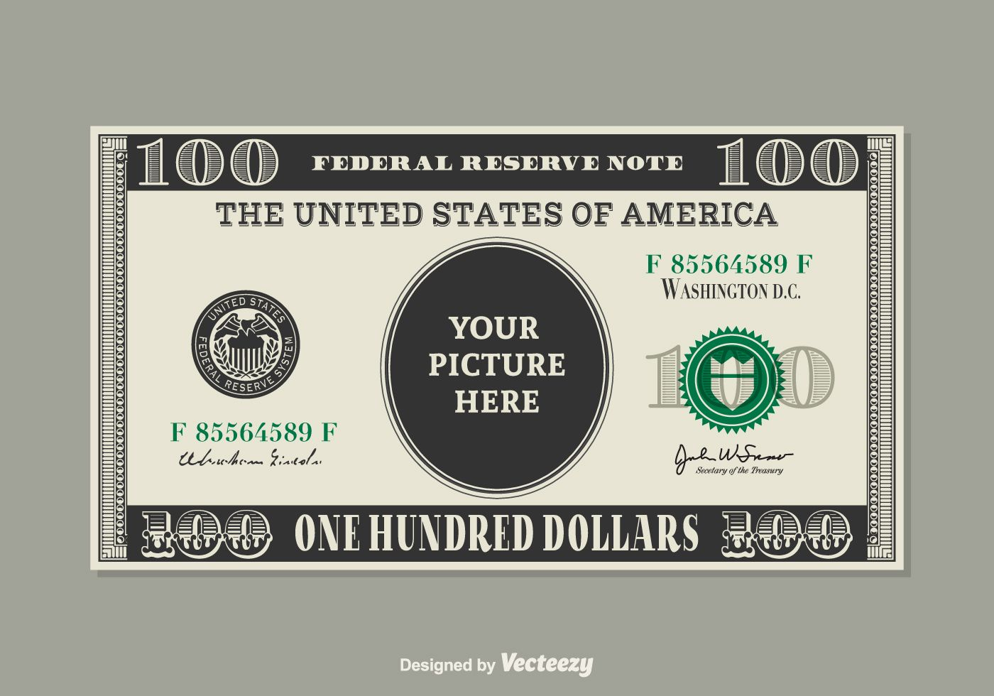 Free Vector Template Design Of A 100 Dollar Bill With Place For Your