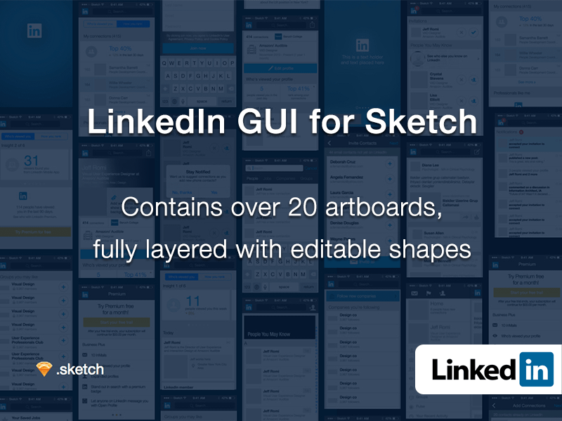 LinkedIn GUI for Sketch - Free sketch resource for download
