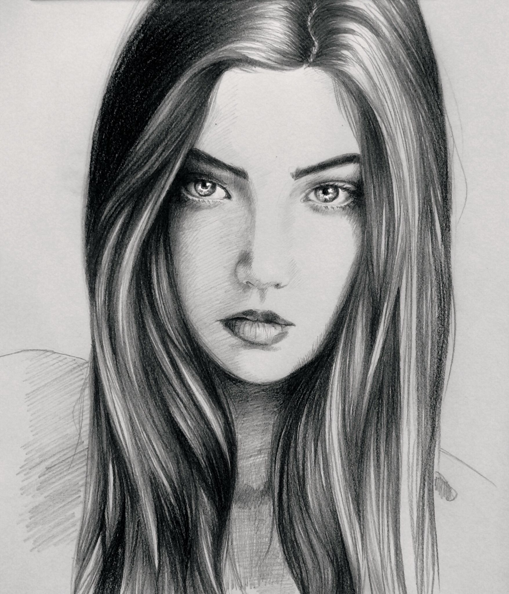 Portrait sketch of a beautiful girl art sketch drawing beautiful hair eyes makeup portrait woman
