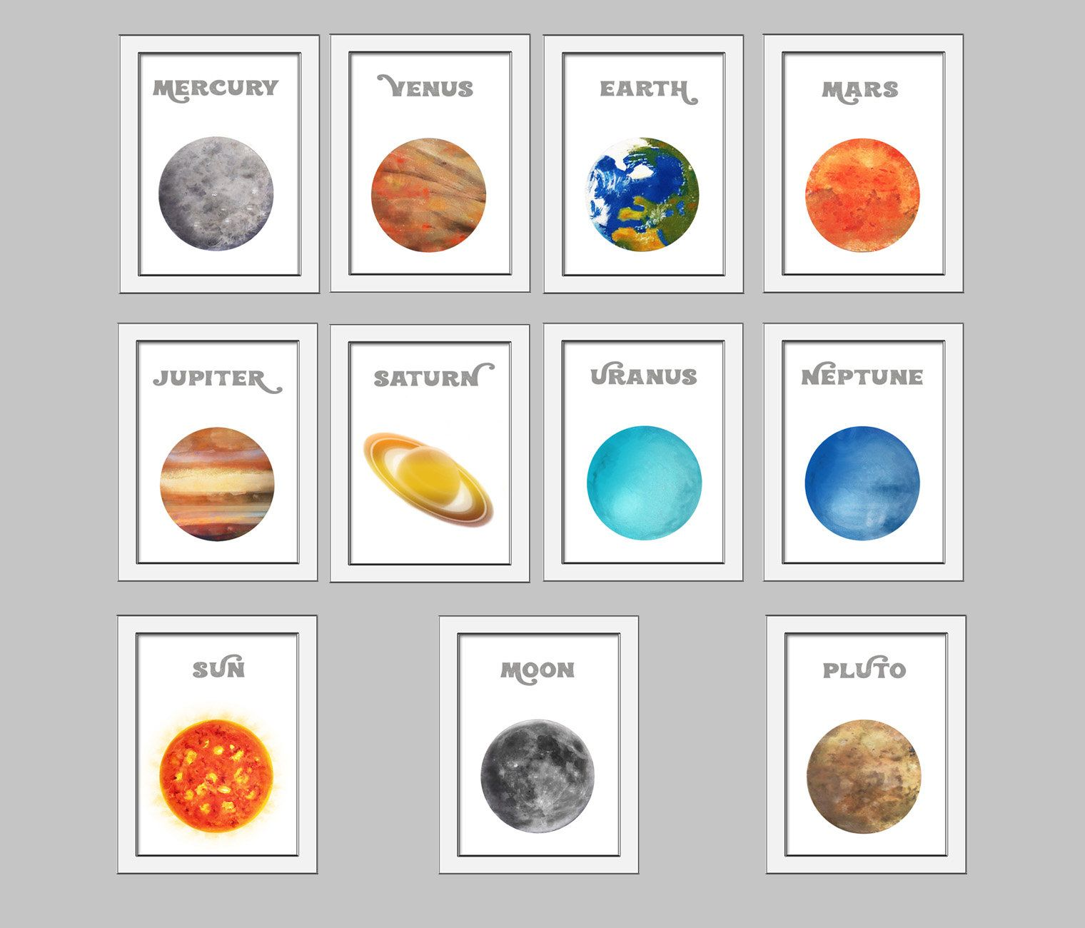 Solar System Artwork Planet Posters Printable Watercolor