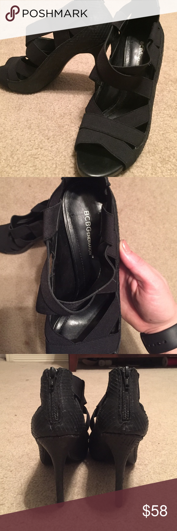 BCBG heels Black BCBG heels. Zipper on back. Straps are elastic. Only worn twice BCBGeneration Shoes Heels