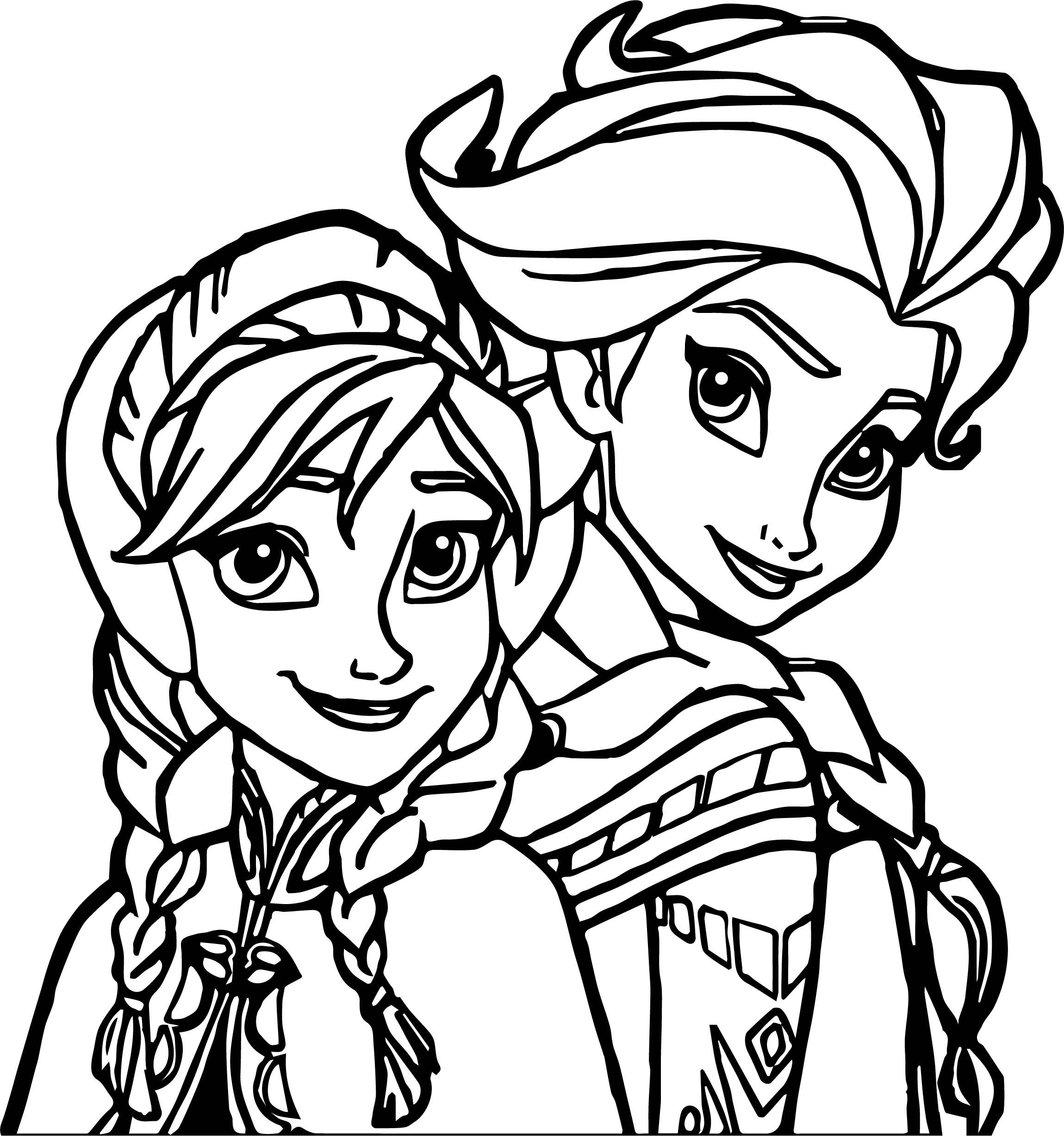 Elsa Anna Coloring Page Wecoloringpage Com
