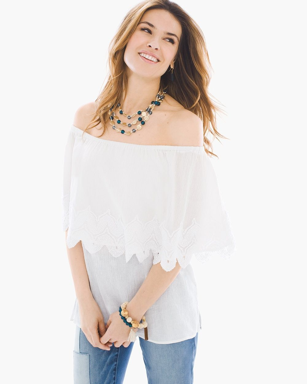 0b8bcb63528bd Chico s Women s Textured Off-the-Shoulder Top
