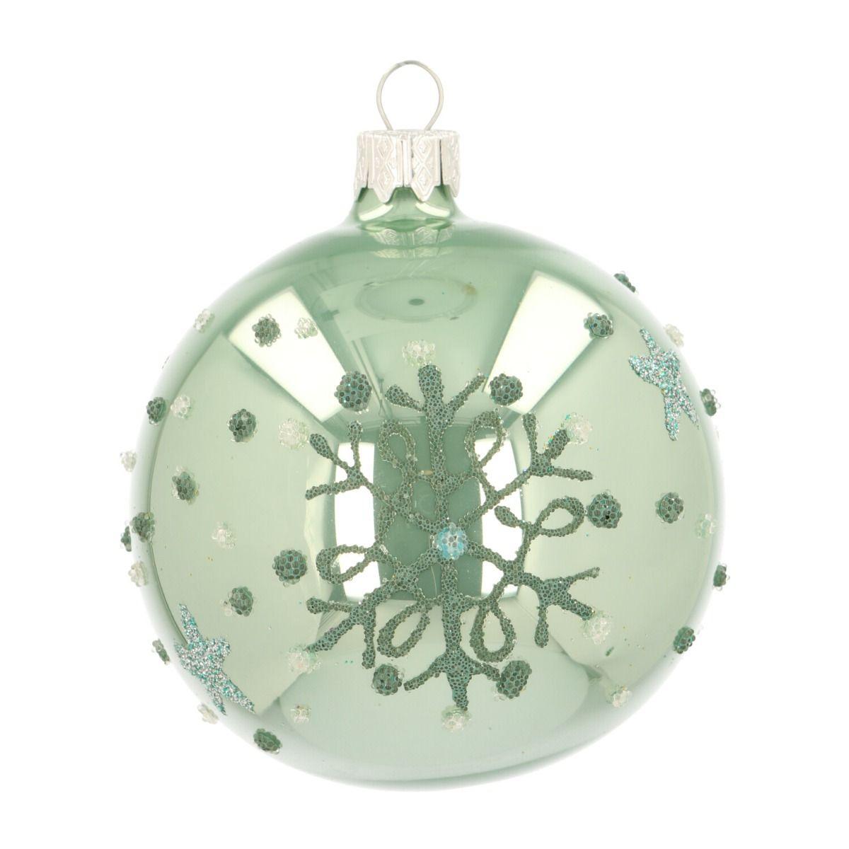 Bijzondere Glazen Kerstbal Zachtgroen Met Sneeuwvlok 8 Cm Sneeuwvlokken Decoratie Kerstversiering