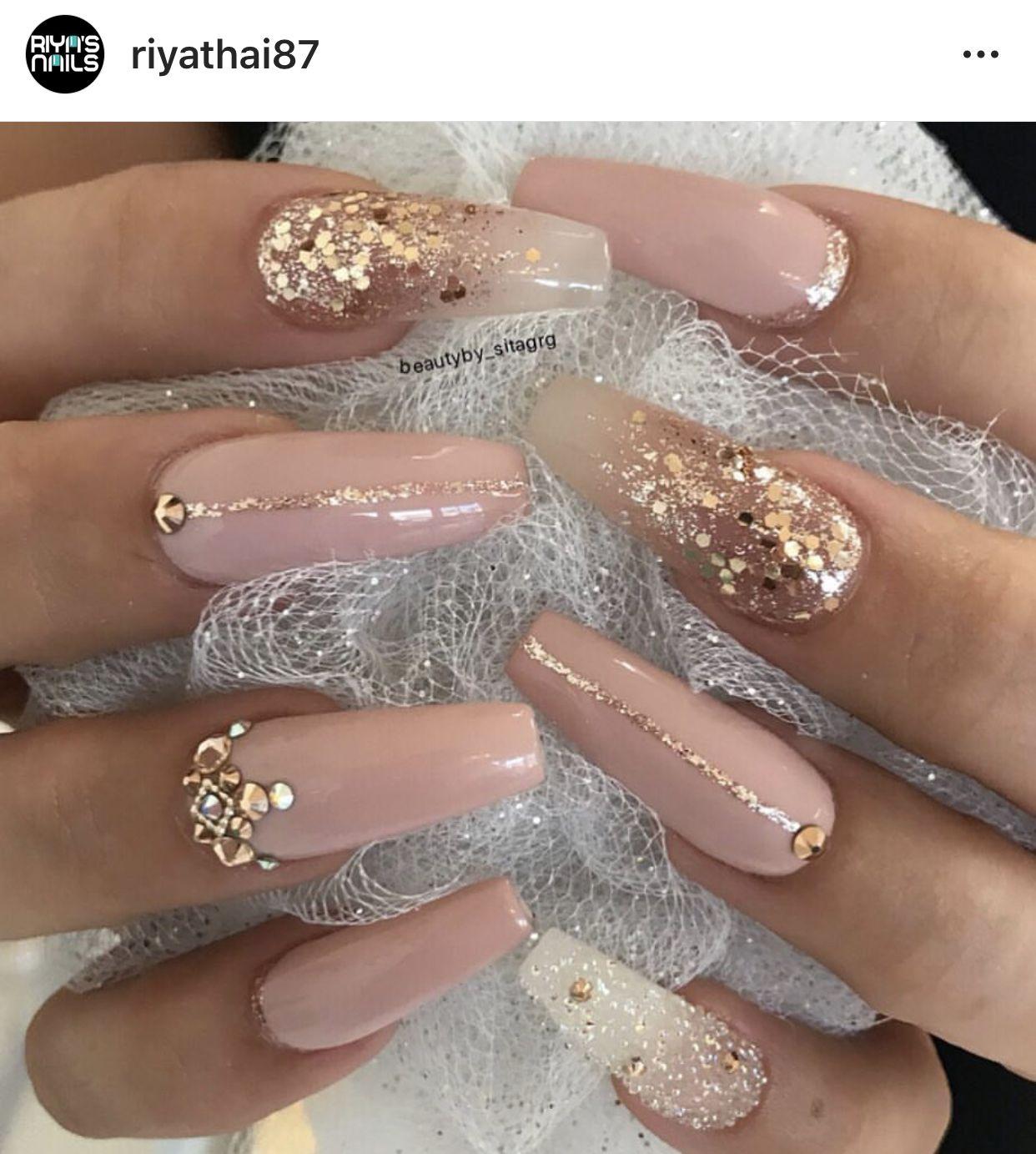 Coloridas Quinceanera Nails Gem Nails Luxury Nails