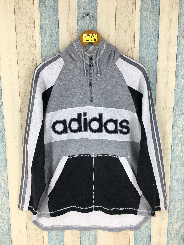 Adidas Trefoil Sweater Hoodie Medium Multicolour Vintage 90 S Adidas Run Dmc Three Stripes Sportswear Adidas Jumper Adidas Jumper Sweater Hoodie Adidas Trefoil [ 3000 x 2250 Pixel ]