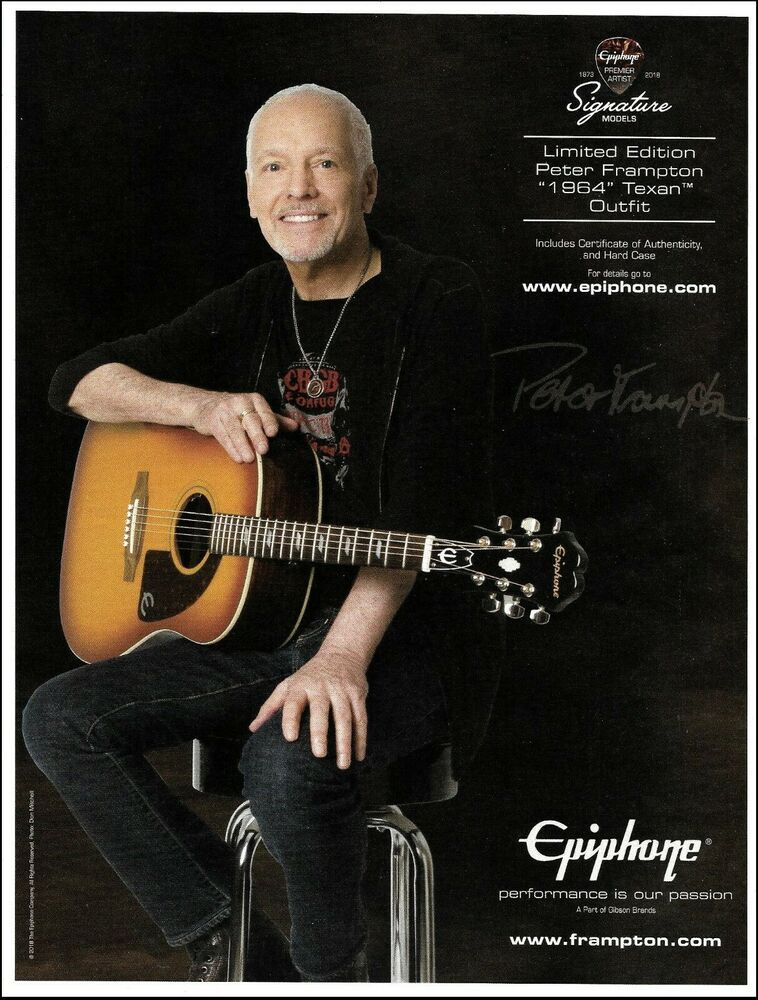 Peter Frampton Signature Epiphone 1964 Texan Acoustic Guitar Advertisement Print Epiphone Epiphone Peter Frampton Guitar
