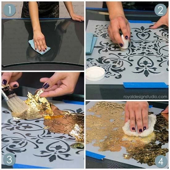 How to stencil and gild on glass with a reverse stencil technique using Royal Stencil Size