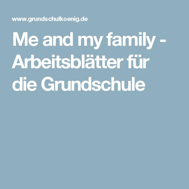 Me and my family - Arbeitsblätter für die Grundschule | english ...