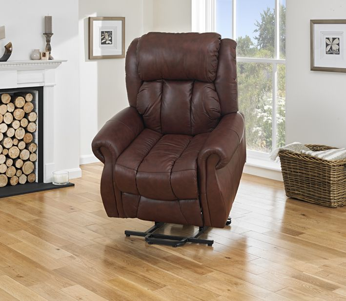 Wellington Riser Recliner Chair Real Leather Dual Motor