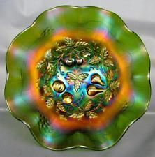 CARNIVAL GLASS - NORTHWOOD THREE FRUITS MEDALLION Green Dome-foot Bowl