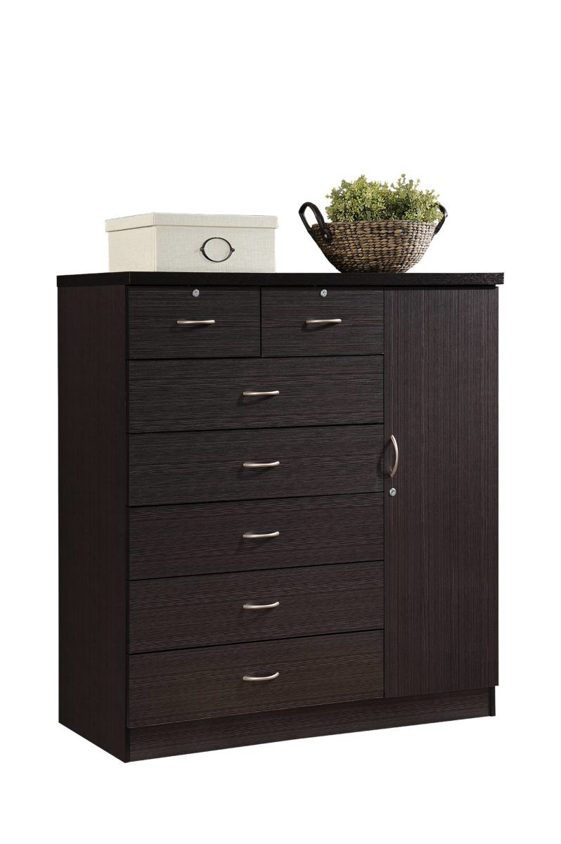 Hodedah 7 Drawer Dresser With Side Cabinet Equipped With 3 Shelves Chocolate Walmart Com In 2020 Drawers Shelves 7 Drawer Dresser
