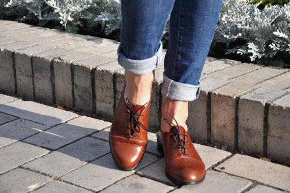 Zapatos marrones vintage para mujer joDgHotip