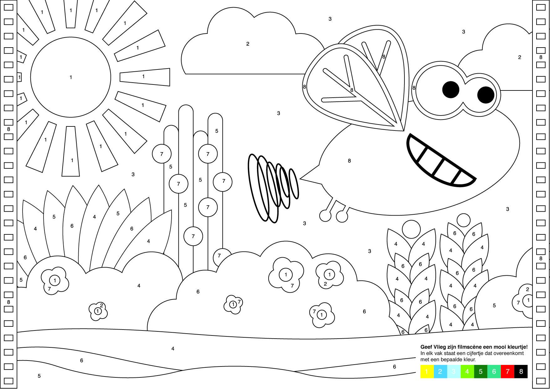 Vlieg Geniet Van De Zon Met Kleurcodes Kleurplaten Vliegen Genieten