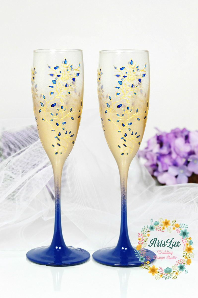 Gold&Royal blue Wedding champagne glasses-Hand painted Wedding ...