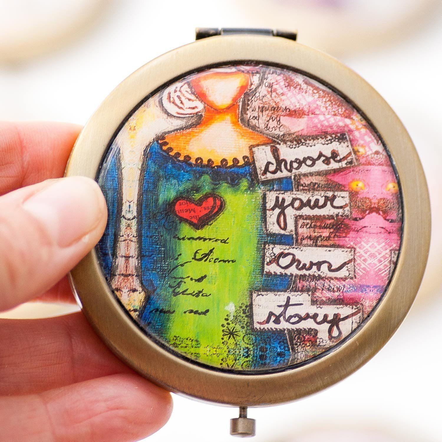 Compact Mirror – Hand Mirror – Inspirational Gifts for Women – Travel Gift – for Her – Best Friend Gifts – Gift for Wife – Gift for Mother