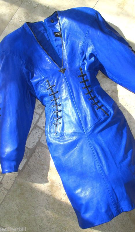 BLUE LEATHER LACED  DRESS from NORTH BEACH - SIZE XS