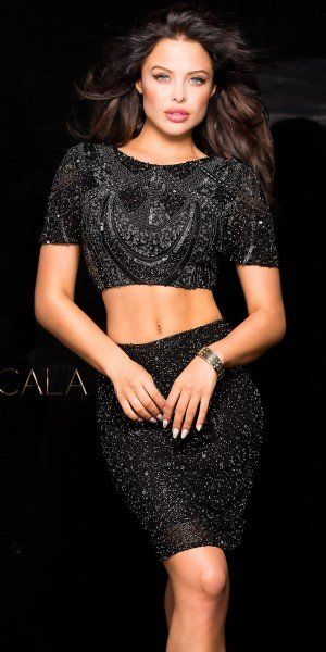 Beaded Two Piece Cocktail Dress by Scala | BLACK FASHION | Pinterest ...