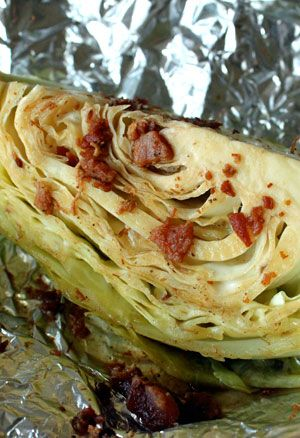 Grilled cabbage. INSANELY delicious, easy, inexpensive & healthy.  (1 t. olive oil, 2 T. bacon bits, 2 T lemon juice, 1 T. worcestershire, 1/4 t. salt, 1/4 t. pepper, 1  Cabbage, quartered, individually wrapped.  Bake at 425 degrees for 20-30 minutes)... use turkey bacon