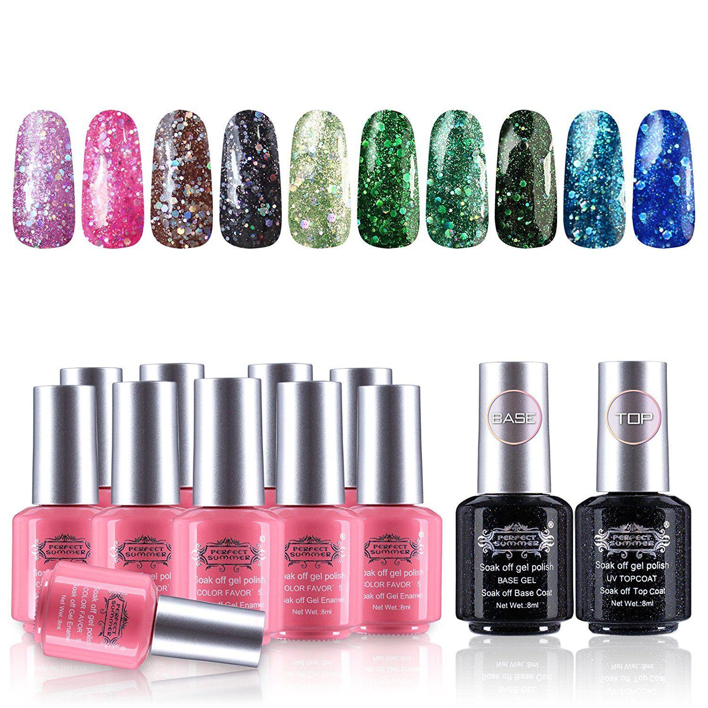 Perfect Summer Gel Nail Polish 10 Glitter Colors Nail Lacquers 2 ...