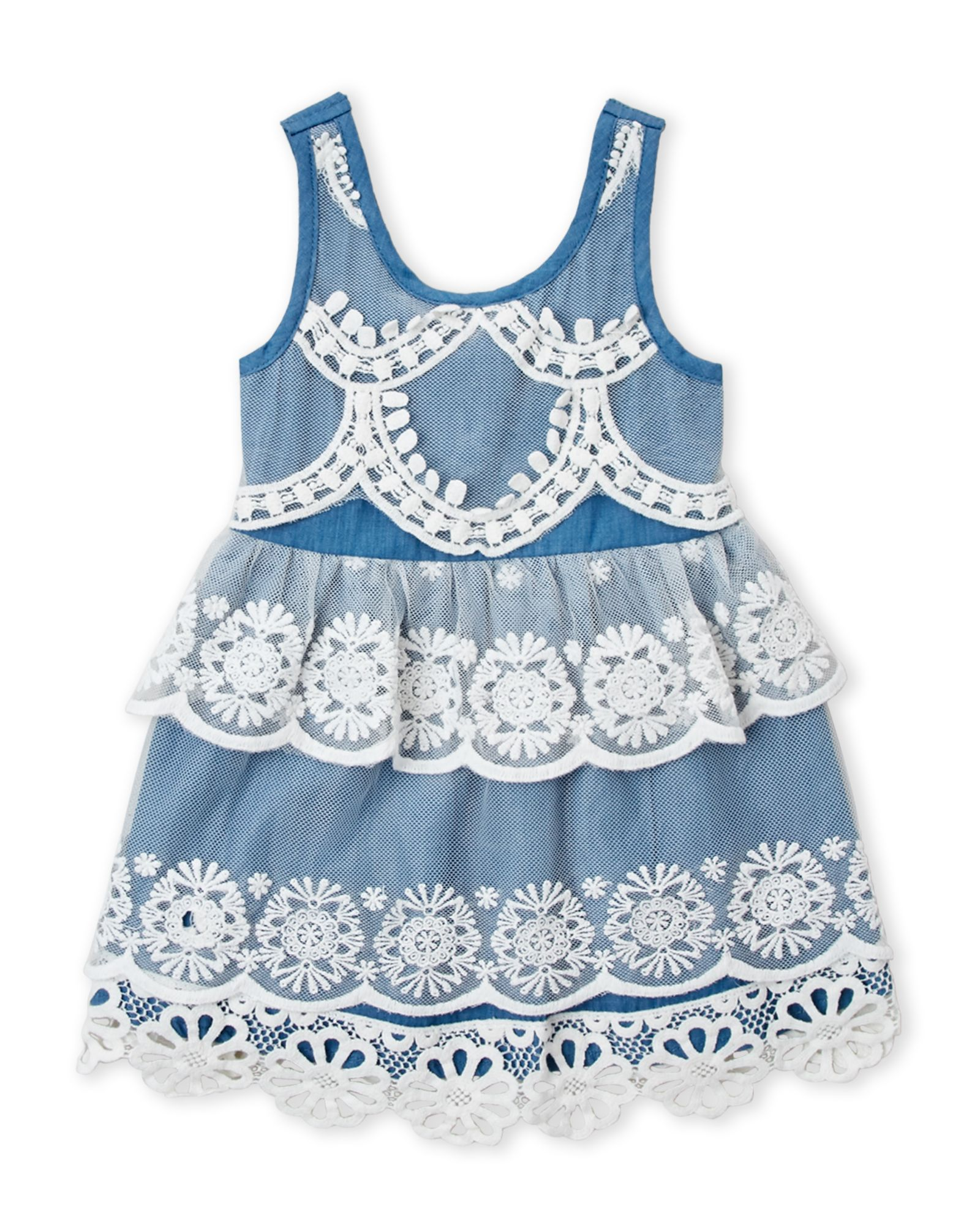 Baby Sara Infant Girls Lace Chambray Tier Dress