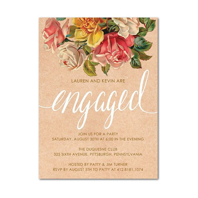 Vintage Floral Engagement Party Invitation  - engagement invitation cards templates