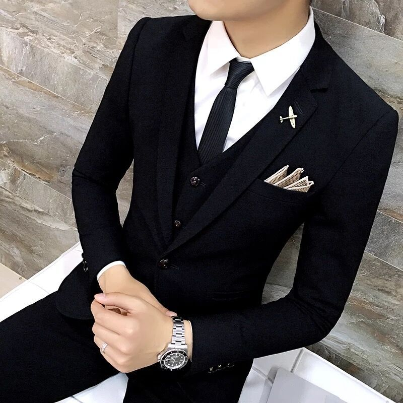 High Quality Men Black Gold Tuxedo Suit 3 Pieces Mens Formal Suits Costume Homme Wedding For