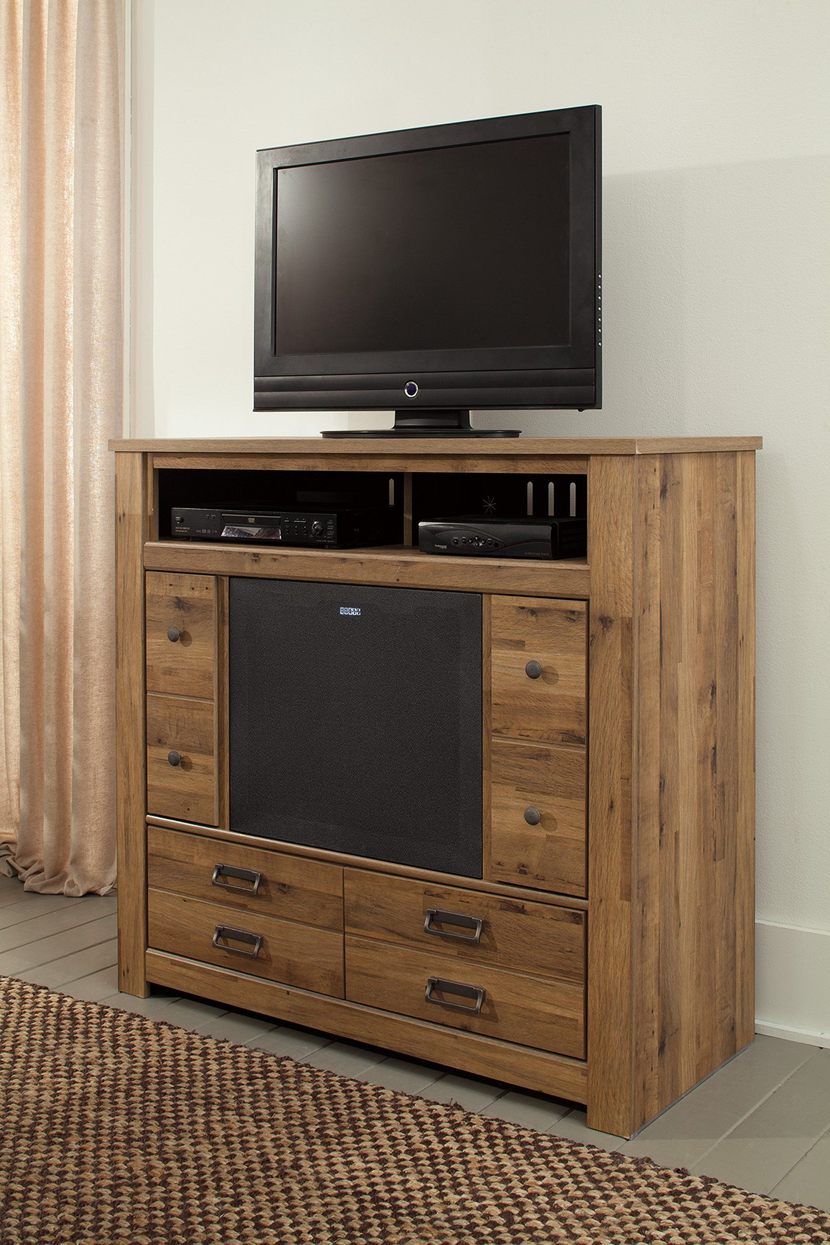 kitchen furniture porter ashley com stand brown dp burnished amazon tv home cupboard stands finish large