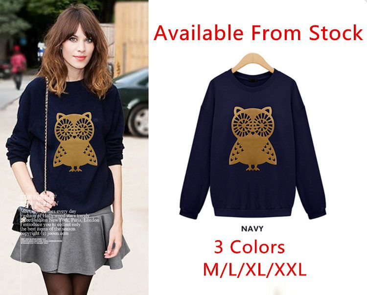 f00c1617ae  8.59 New Arrival M XXL Plus Size Casual Cute Owl Animal Print Hoodies  Pullover Girls Women s
