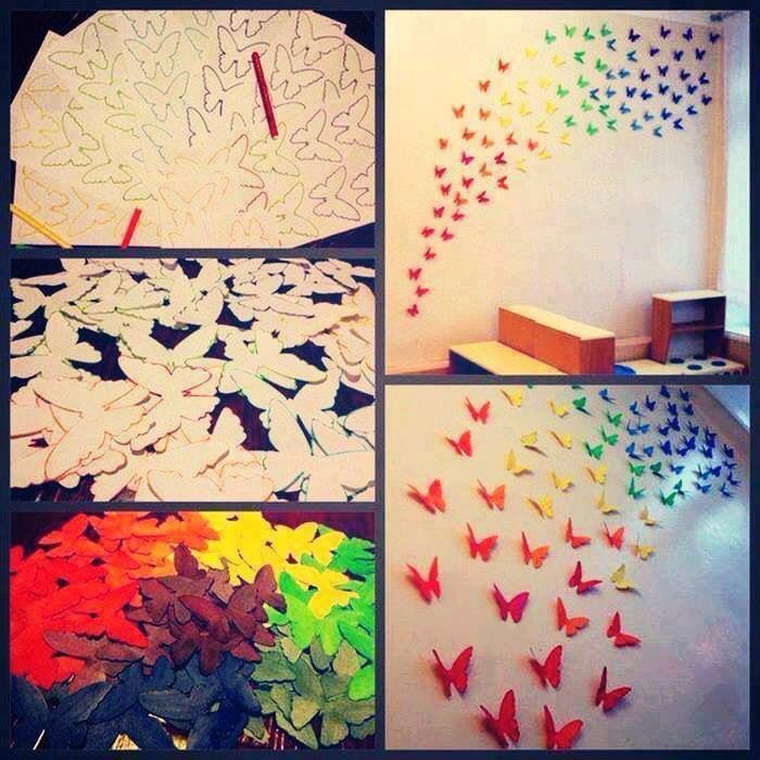 DIY Butterfly Wall and Lamp Decor | Creative idea | Pinterest ...