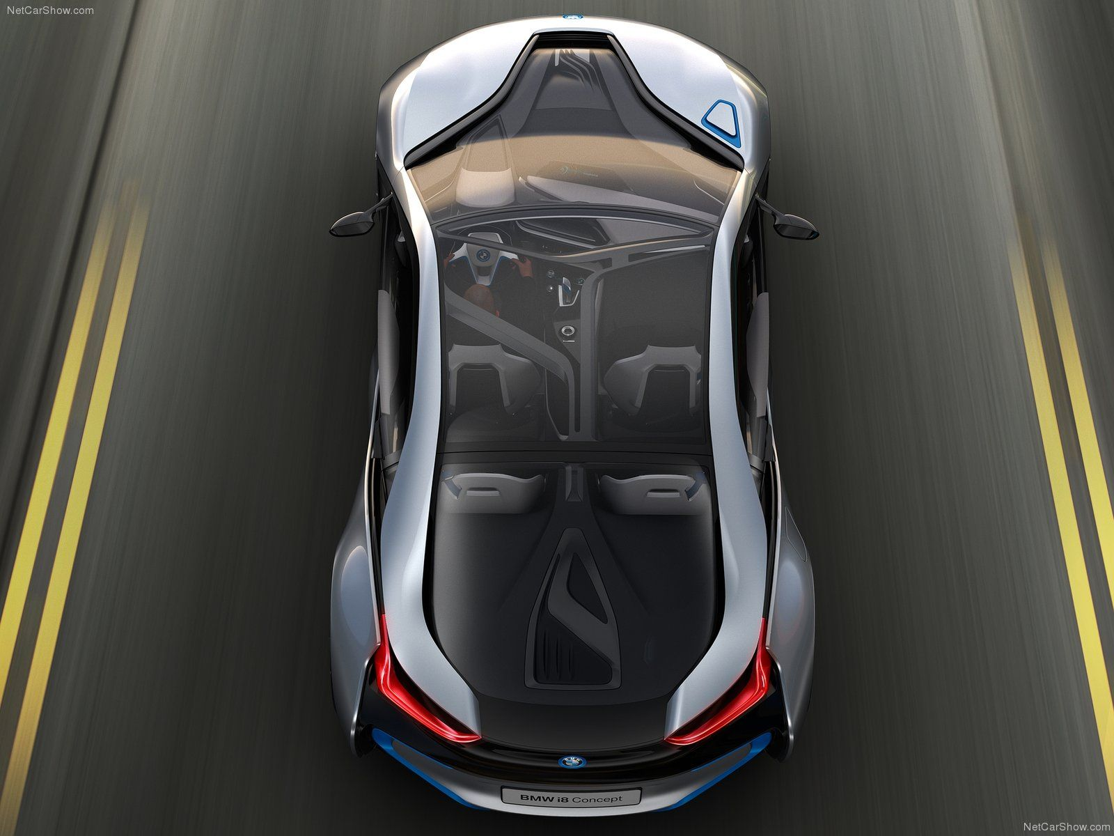 BMW i8 Top view shows full lenght clear roof sunroof body design