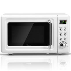 Costway 0 7cu Ft Retro Countertop Microwave Oven 700w Led Display Glass Turntable White Countertop Microwave Countertop Microwave Oven Microwave Oven