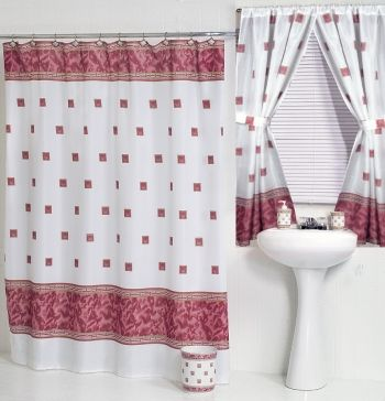 Windsor Burgundy Fabric Shower Curtain W Available Window
