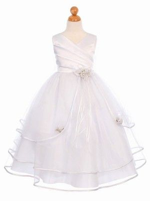 a256442f818 White 3 Tier Tulle Skirt Flower Girl Dress (Sizes 2-16 in 6 Colors) -  Pageant Dresses - GIRLS