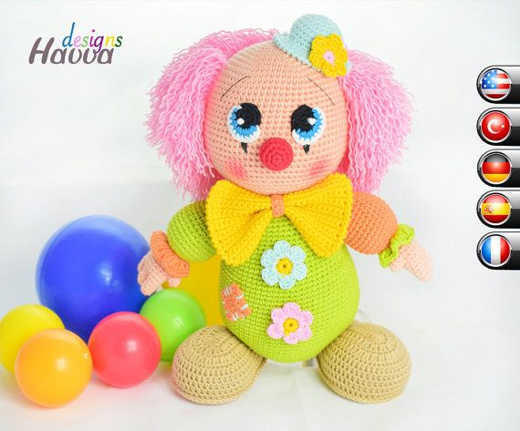 Downloadable Crochet Pattern Mister Clown Amigurumi Crochet