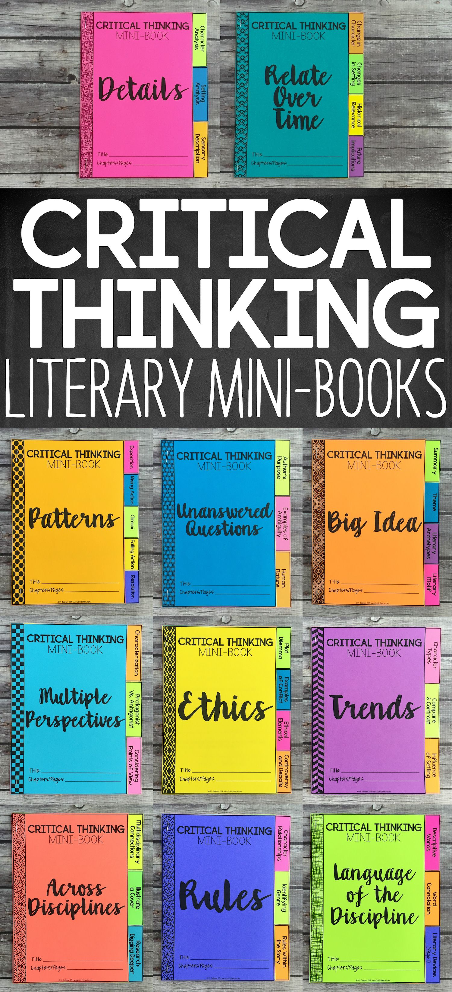Depth And Complexity Critical Thinking Literary Mini Books